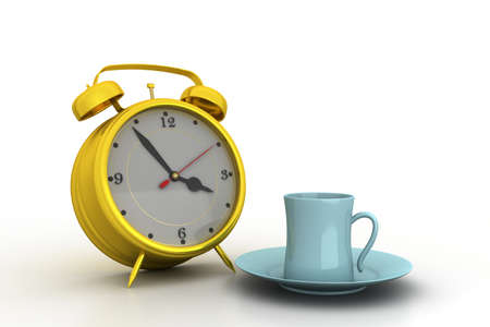 Alarm clock with cup of tea photo