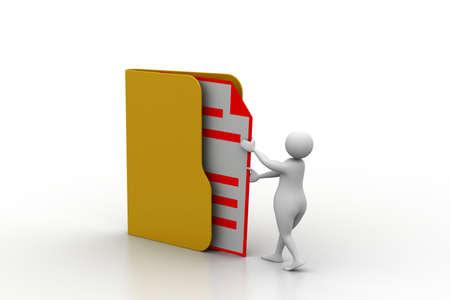 3d man inserting the file in folder