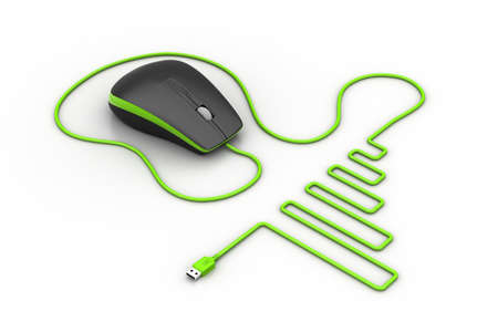 Computer mouse with cable photo