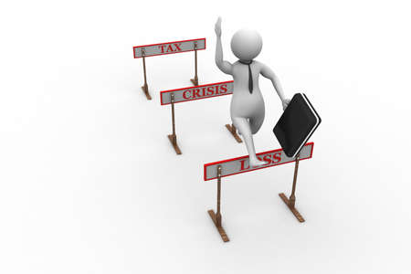 3d man jumping over a hurdle obstacle titled tax, crisis, loss photo