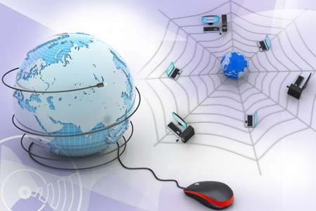 web address: internet  concept - computer mouse with globe