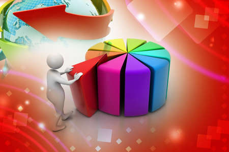 3d man pushing  red peace of pie chart photo