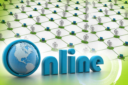 net trade: On-line illustration with globe