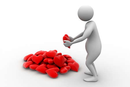 3d man holding heart in his hands photo