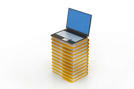 file folders next to a modern laptop photo