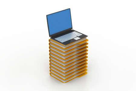file folders next to a modern laptop