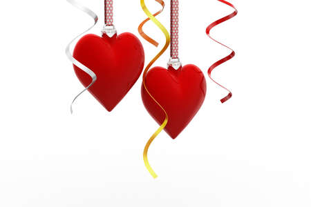 Two Love heart hanging, valentines day card concept