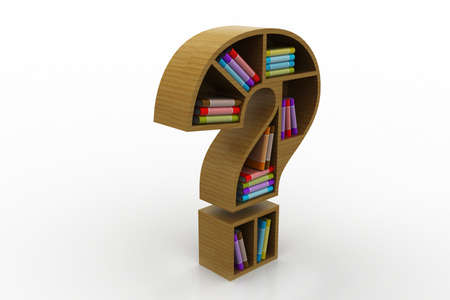 erudition: Book shelf in the model of question mark