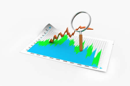 Business graph with magnifying glass photo