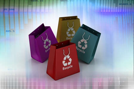 shopping bag with recycle symbol photo