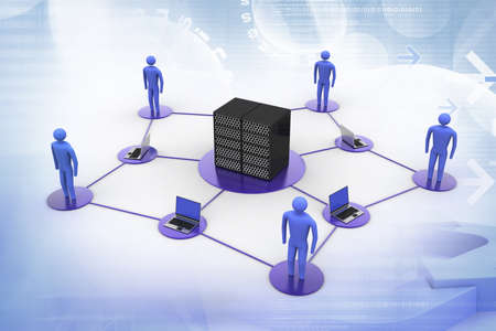 e recruitment: Human with laptop with big server Net Work firewall  3D Image