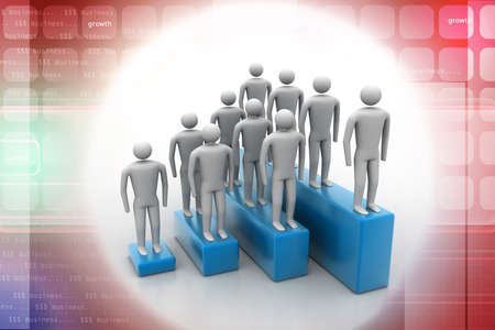 3d people in group, leadership concept photo