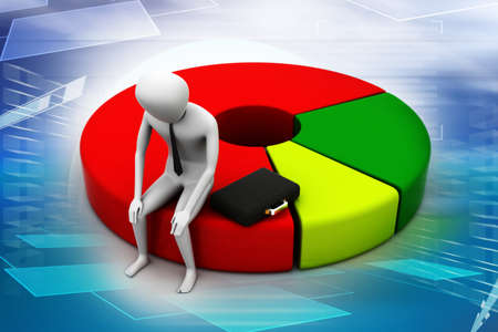 Business man resting on pie chart photo