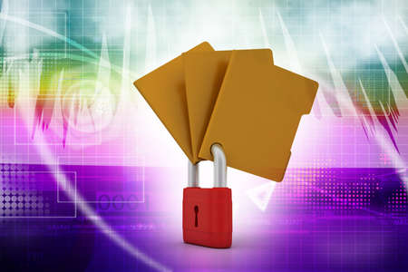 Confidential files  Padlock on folder photo