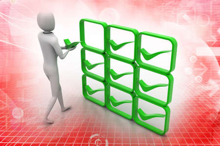3d person with green positive symbol in hands photo