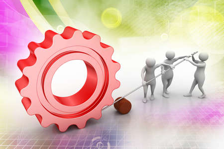 people moving  gear in union, symbol of teamwork Stock Photo
