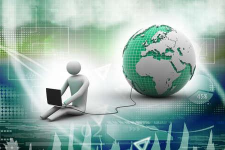 3d man sit near the globe with laptop photo