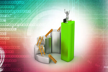3d man, person climbing ladder using  up to  bar chart photo