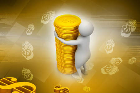 Gold coin with 3d person photo