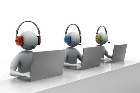 man headset: 3D man with headset talking over the phone