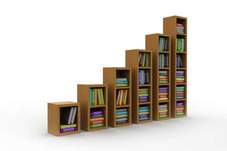 books on a wooden shelf photo