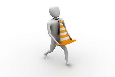 3d small person carrying the traffic cone photo