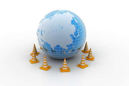 Globe and traffic cone Stock Photo