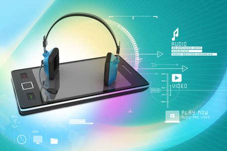 Modern headphones and smart phone photo