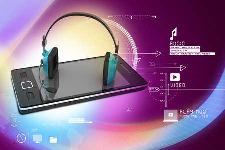 Auriculares modernos y teléfonos inteligentes