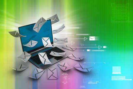 tele communication:     E-mail concept  Modern Laptop and envelope