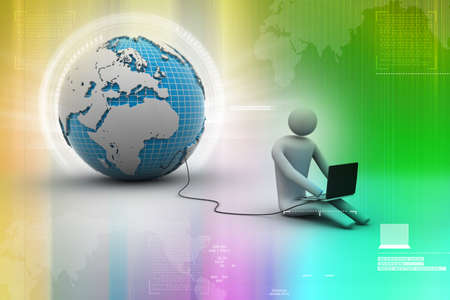 3d man sit near the globe with laptop photo