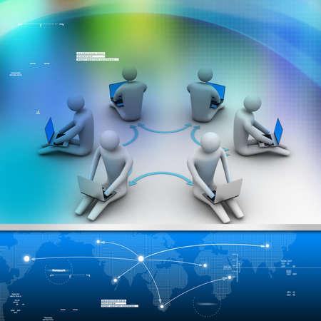 3d illustration of people working online on laptop Stock Illustration - 28511193
