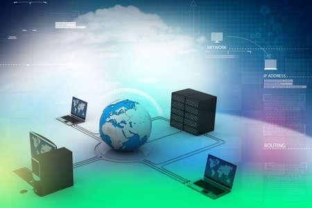 e recruitment: Globe around with laptop server  and computer Stock Photo