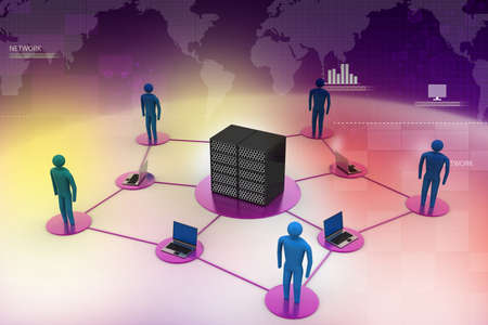 Human with laptop with big server Net Work firewall  3D Image