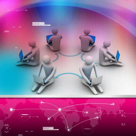 3d illustration of people working online on laptop Stock Illustration - 28511340