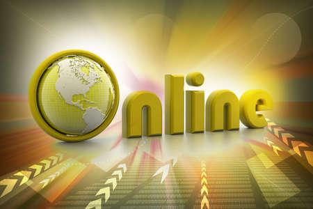 On-line illustration with globe