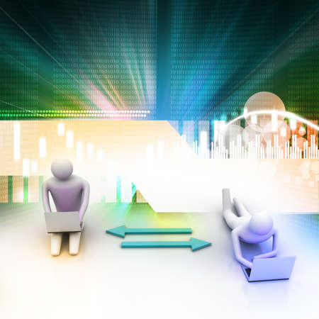 Two 3d people holding laptops are connected with arrows photo