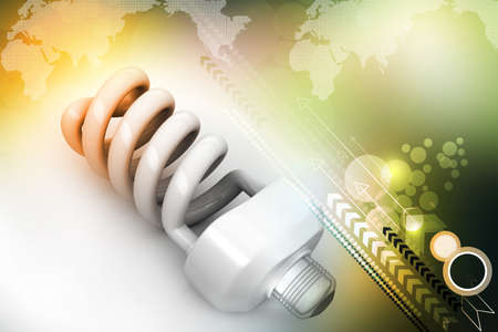 energy saving light bulbs isolated on color background photo