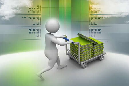 3d man carrying the file in trolley photo