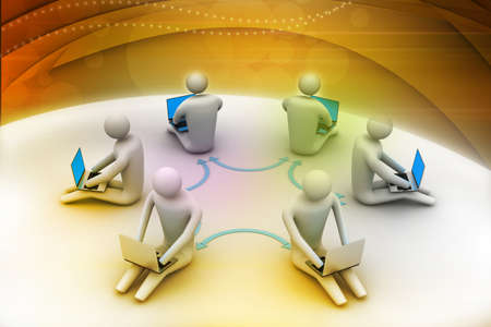 chat online: 3d illustration of people working online on laptop