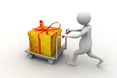 3d man pushing a gift box in the cart photo