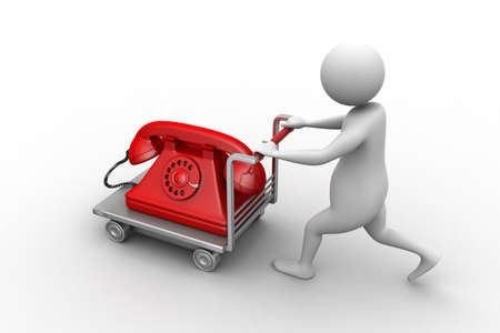 3d man carrying the old telephone in trolley photo