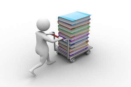 3d man pushing hand truck with books photo
