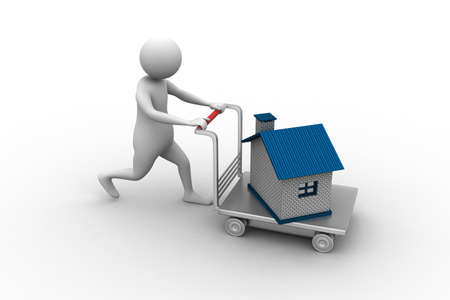 3d man pushing house in trolley photo