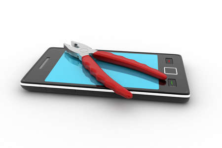 multi touch: Smart phone repair service concept