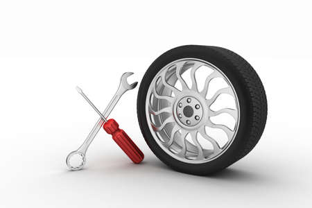 service car: 3d tires replacement concept