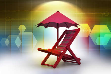 wooden furniture: chair covered by umbrella Stock Photo
