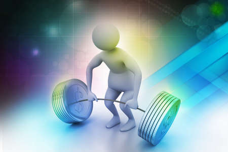 3d man lifting weights   photo