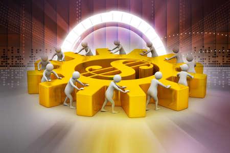 labor market: 3d people push the dollar wheel