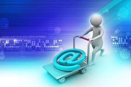 carretilla de mano: 3 ª persona con la carretilla de mano y correo electrónico símbolo